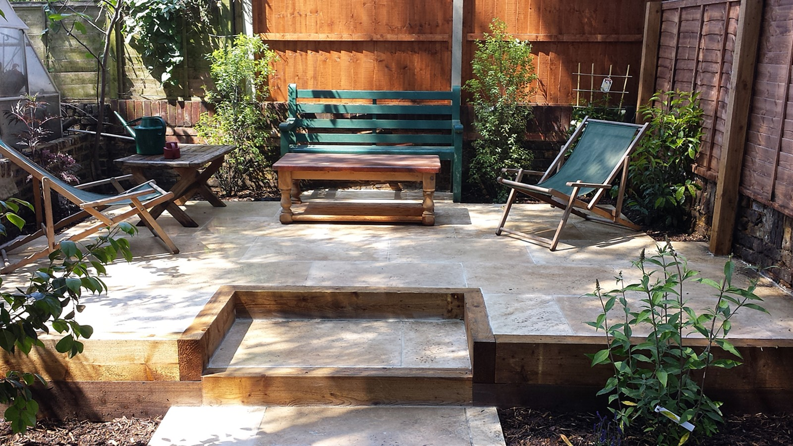 Travertine Paving Patio Modern Garden Design Landscaping ... on Modern Backyard Patio Ideas  id=40772