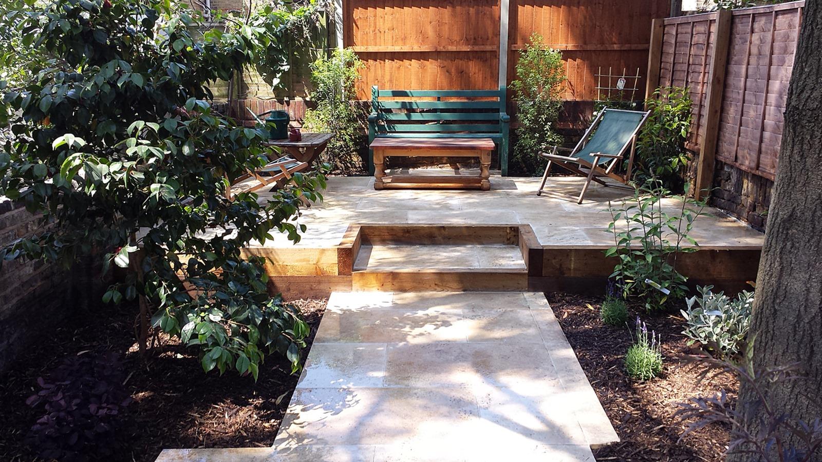 Travertine Paving Patio Modern Garden Design Landscaping ... on Modern Garden Patio Ideas id=11907