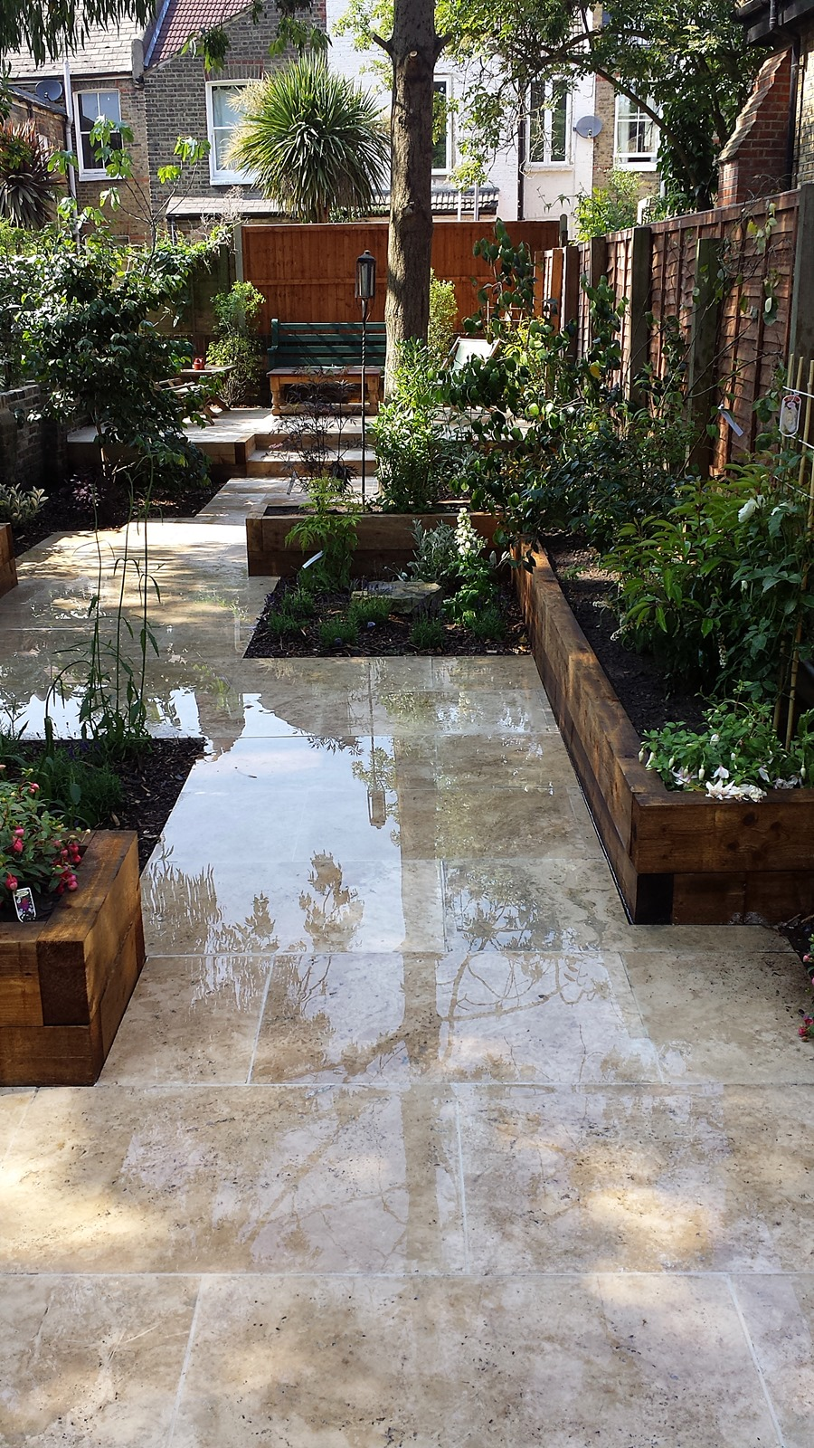 Travertine Paving Patio Modern Garden Design Landscaping ... on Backyard Patio Layout id=88542