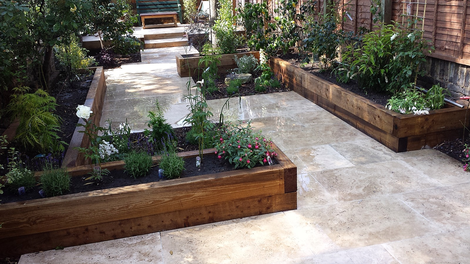 Travertine Paving Patio Modern Garden Design Landscaping ... on Modern Backyard Patio Ideas  id=51815