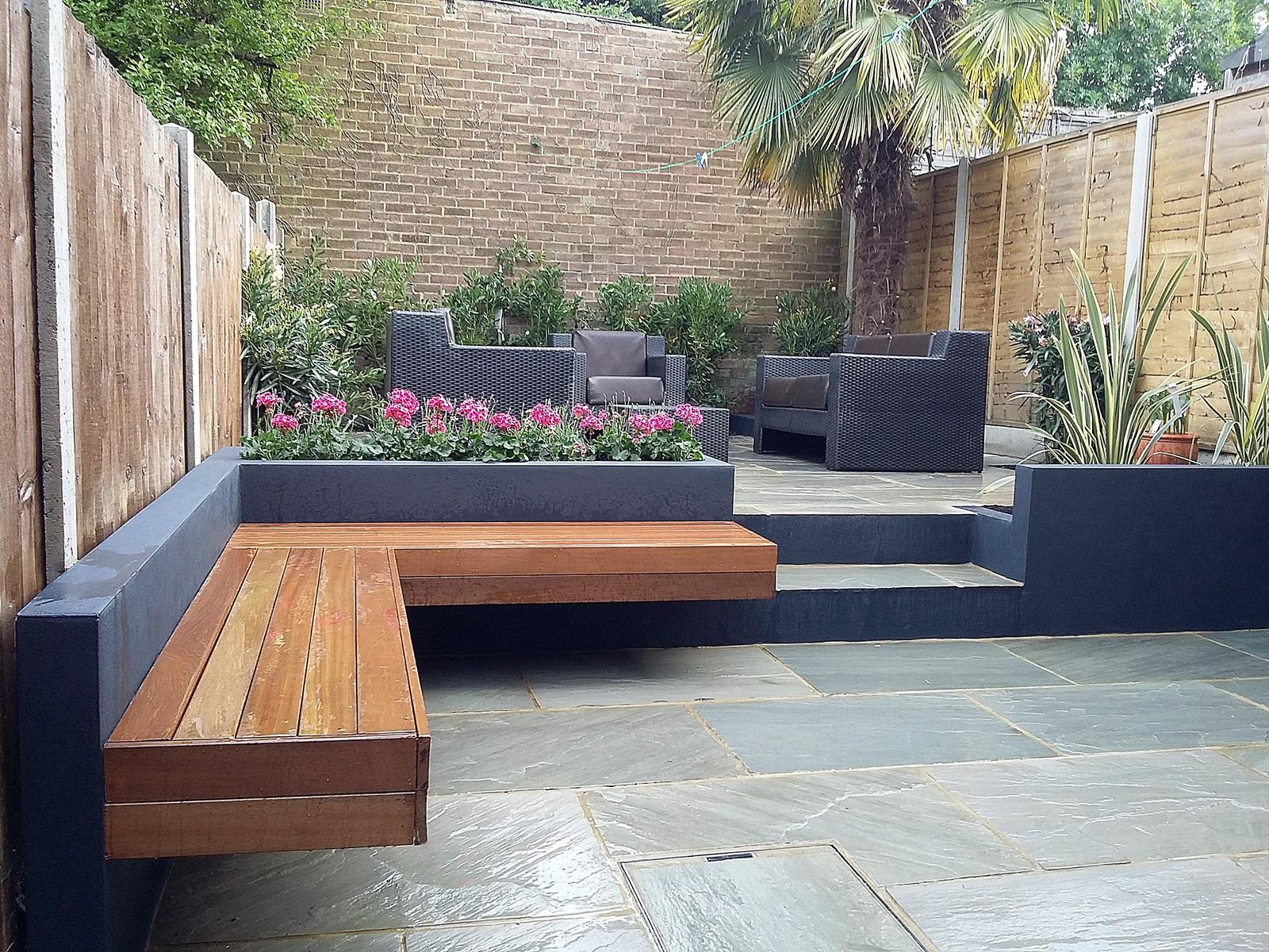 Modern garden design London natural sandstone paving patio ... on Modern Small Backyard Ideas id=30845