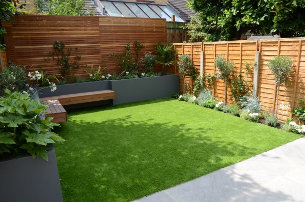 small home garden layout small garden design fake grass low mainteance contempoary