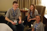 Brain Leonard, Alexis Hogan and Jackie Carlson taking a small break from the excitement.