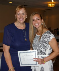Mrs. Patton and sophomore Katharine Delorey who received a Leadership Award.