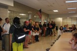Mr. Rowe introduces the freshmen to their mentors at the first meeting on September 11.