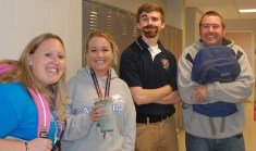 Left to right: Ms. Walsh and Jackie Carlson, Brian Leonard and Mr. Rowe.