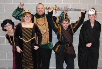 The cast of Macbeth Left to right: Kaitlin Mott, Olivia Olsen, John Mott, Zach Murphy and Erin Mulready.