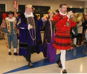 Principal Cron leads the procession from the banquet.