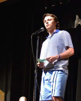 Derrick Trudeau was one of ten finalists who got to present their story at the Sophomore Story Slam on Friday, May 8. photo by Jurnee Dunn