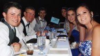 Brian Cohen and Brittany Pitts, Mike Leavitt and Emily Beatrice and Brendan Kirby and his date.