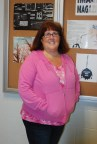 English department head Ms. Cahill looking pretty in pink.