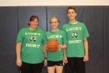 Special Ed Coordinator Sharon McGonnigal, Maddie Olsen and Andrew Starkey = Hoops, There It Is