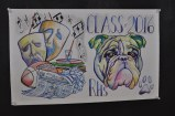 Senior Celia Rosa's Bulldog and activity drawing.