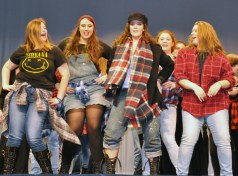 Rockland High Chorus members dance to the finale from Rent. Kalee Lucier-Hill, Rebeca Portela, Stephanie Blaney, Sara Kane