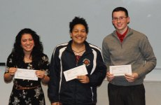 Genesis Rojas, Adiza Alasa and John Ellard placed 1st, 2nd and 3rd in the Poetry Out Loud Contest hosted by the English Department on Friday night, Jan. 20. First place winner, Genesis Rojas will go on to the Southeastern Regionals of Poetry Out Loud with a chance to continue on to the State round. Rockland High School has competed in Poetry Out Loud for all 12 years of its competitions with several competing in the State Finals and one going on to the Nationals (Gabrielle Guarracino).