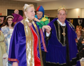 The king and queen, Susan Patton and Gary Graziano, lead the procession of faculty and student cast members in the Shakespeare Festival. photo by Kimberlie Jean-Poix