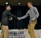Chris McHugh receives the Joseph Dondero Award from Rich MacAllister