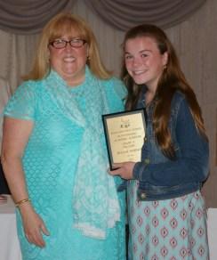 Carol Cahill, English Department Head presented the English Department's Academic Achievement Award to Jillian Dorney