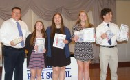Junior letter winners are Sabrina Sprague, Jillian Schofield, Jaymie Atkins and Ronan McNally