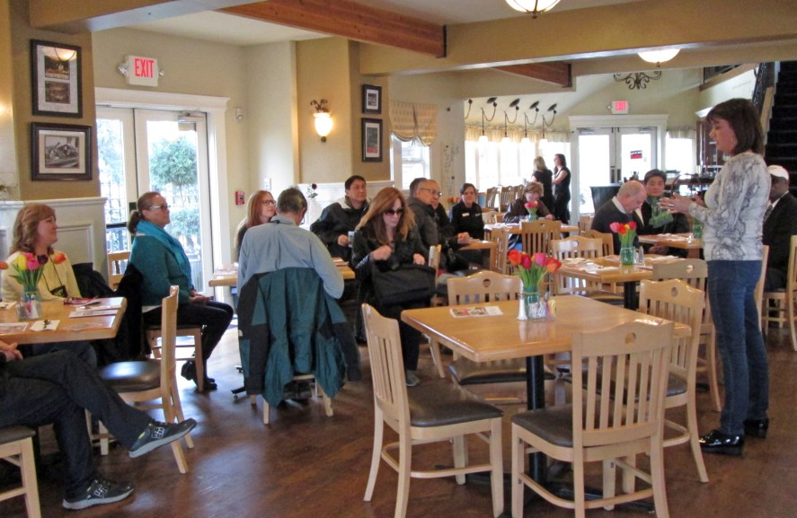 Barb welcomed guests to Windmill Bistro before serving strawberry-rhubarb crisps fresh from Chef Bruce's oven.