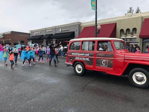 """Calvary Community Church celebrates with a great """"woody"""" vehicle."""