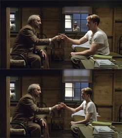 Before and after of Chris Evans special effects transformation in Captain America