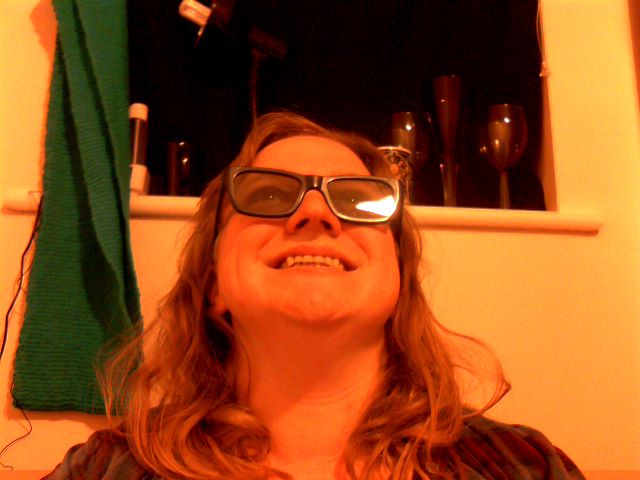 Me, grinning like a foolish child, in my 3D glasses