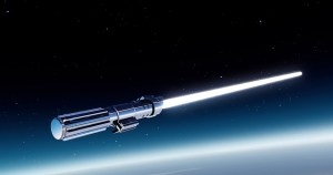 A blue lightsaber against a background of space.