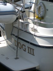 Dinghy davit support on stern