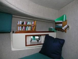Bookshelf in V-berth