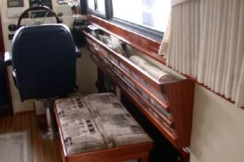 Mahogany magazine rack and stool trim