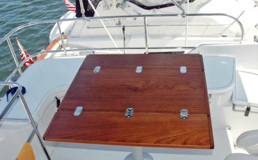 Folding custom flybridge table - open