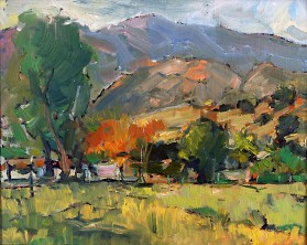 "Calabasas Morning, Oil on Canvas, 9"" x 12"" - SOLD"