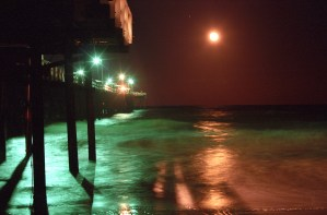 Old Jacksonville Beach Pier at Night, Offshore storm in the distance