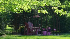 A pink flamingo themed outdoor seating area.