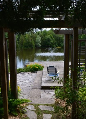 The view seen as you enter the sunning platform and dock overlooking the pond.