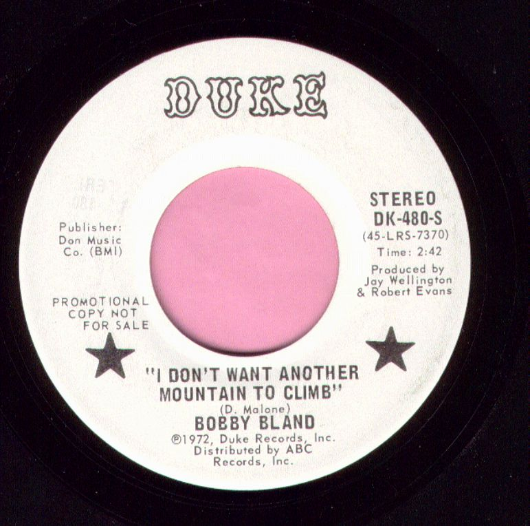 """Bobby Bland """" I Don't Want Another Mountain To Climb """" Duke Demo Vg+"""