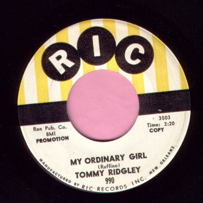 "Tommy Ridgley "" My Ordinary Girl "" Ric Demo Vg+"