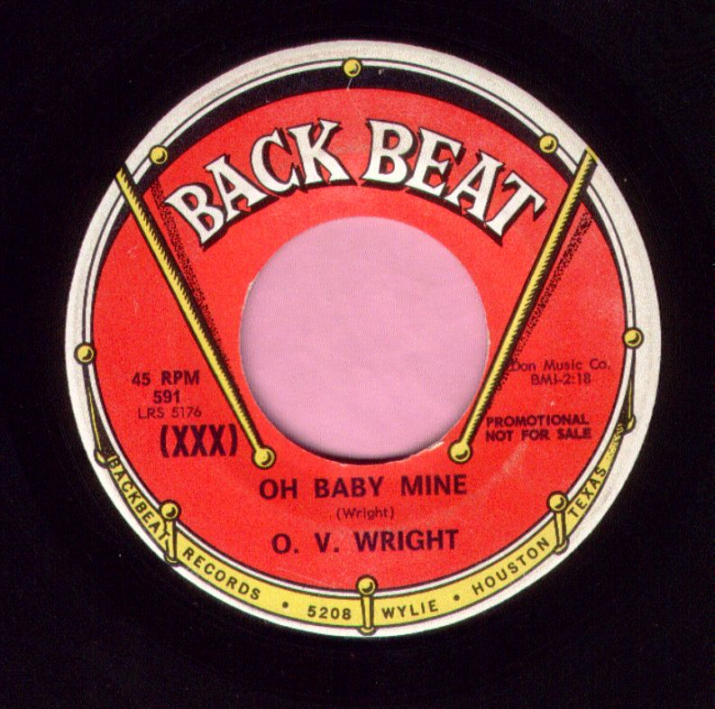 "O.V. Wright "" Oh Baby Mine ""/ "" Working Your Game "" Backbeat Demo Vg+"