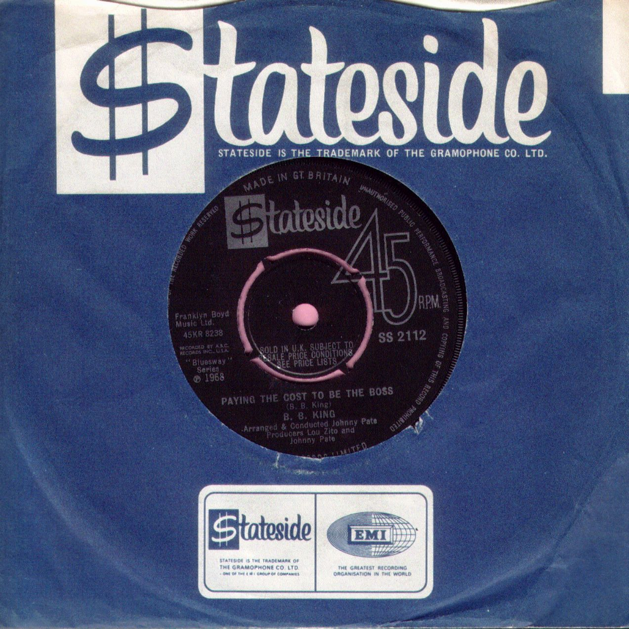 """B.B. King """" Paying The Cost To Be The Boss """" Stateside Vg+"""