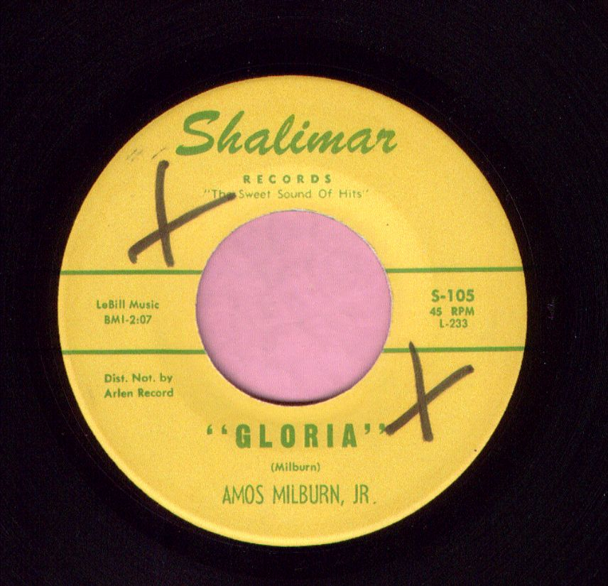 "Amos Milburn Jr. "" Gloria "" Shalimar Records Vg+"