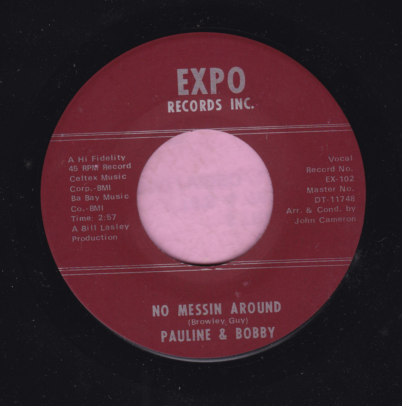 "Pauline And Bobby "" No Messing Around "" Expo Records Vg+"