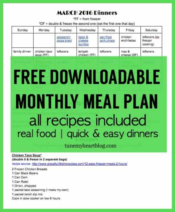 Each month I share my whole-month menu plan with links, recipes, meal planning tips, and a free monthly meal planning calendar. This month there's a bonus download with all the recipes in one spot :)