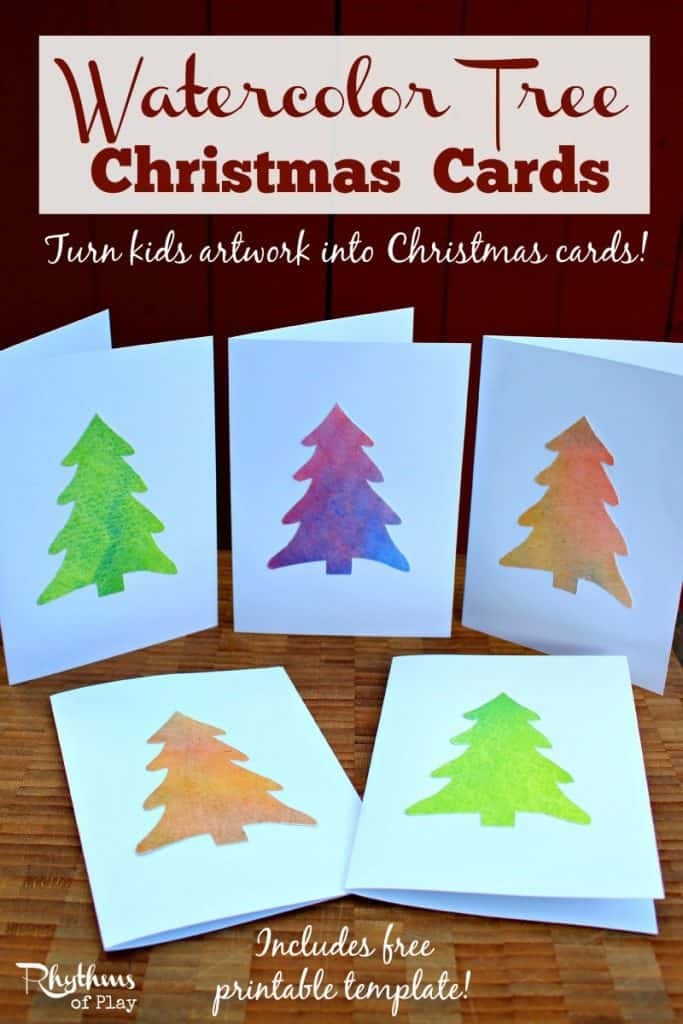 Easy Watercolor Christmas Tree Cards Rhythms Of Play
