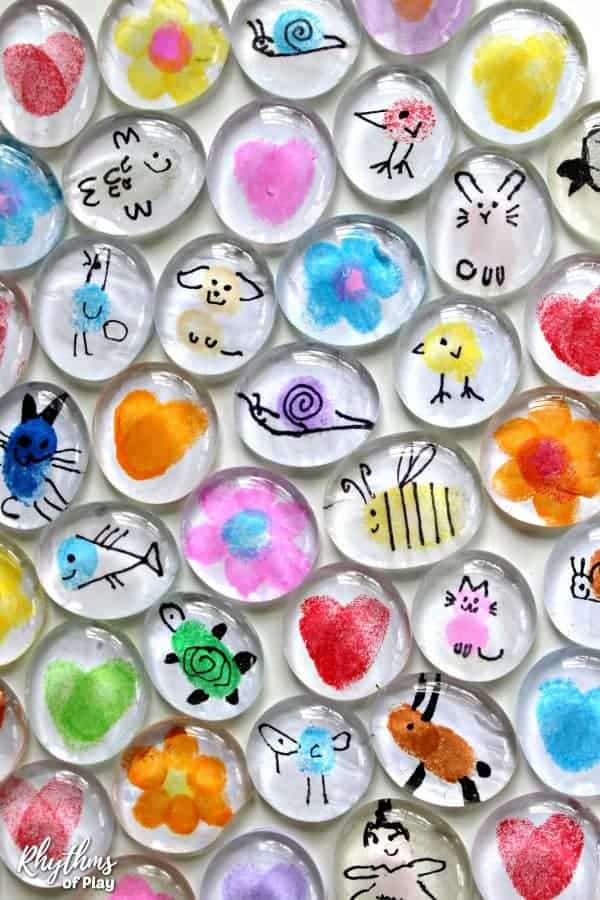 Fingerprint art glass magnets
