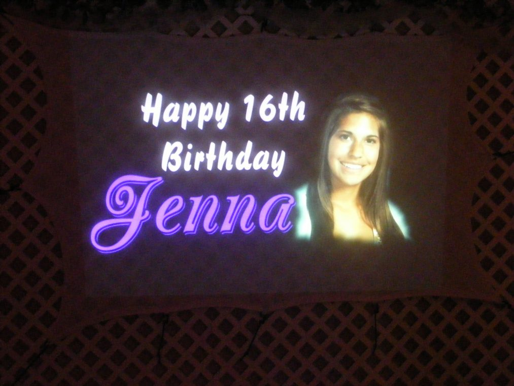 Projected message at birthday party