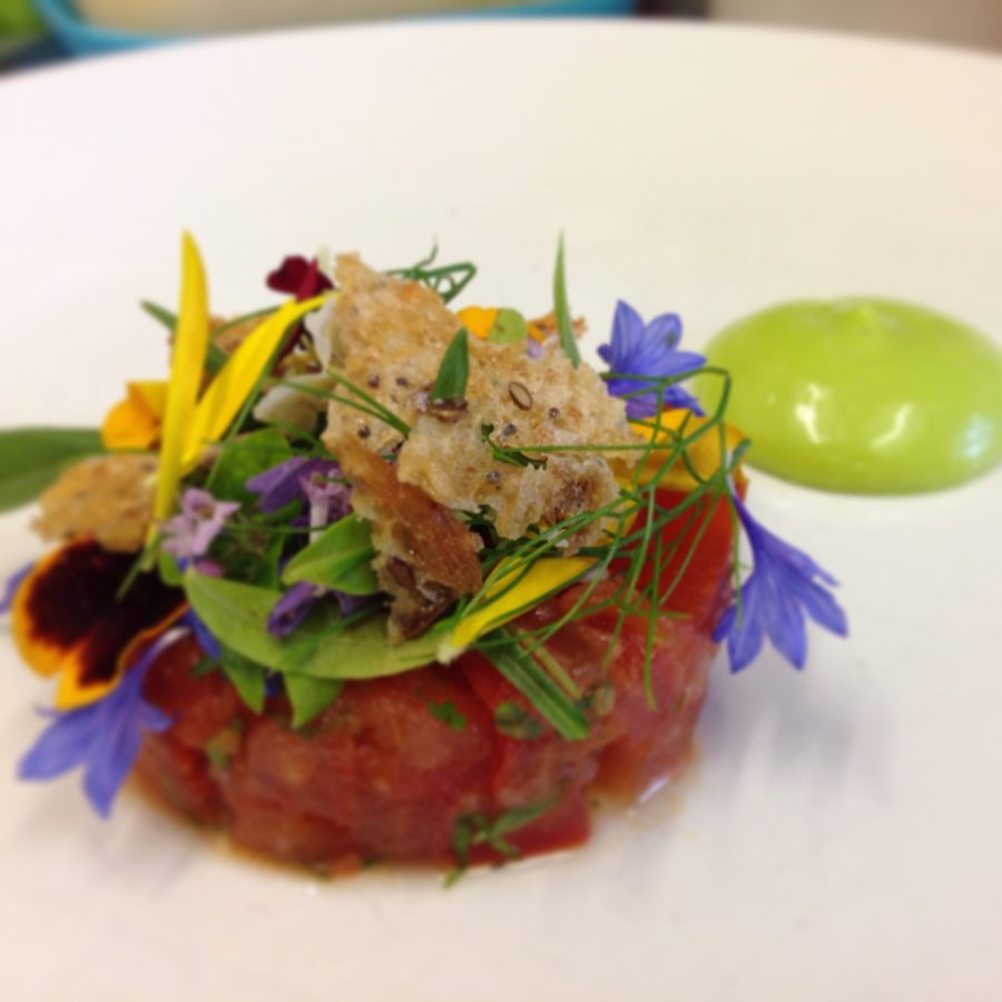 Tomato, lovage, curds