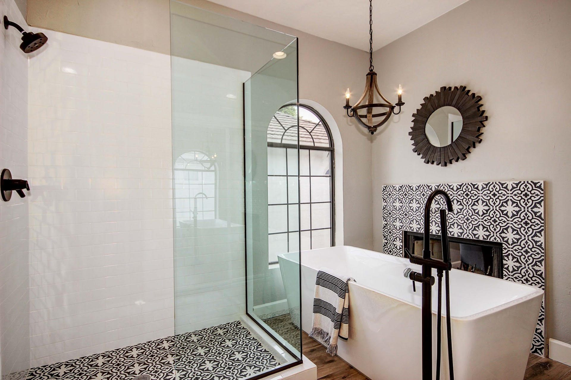 cement tile moroccan tile black and