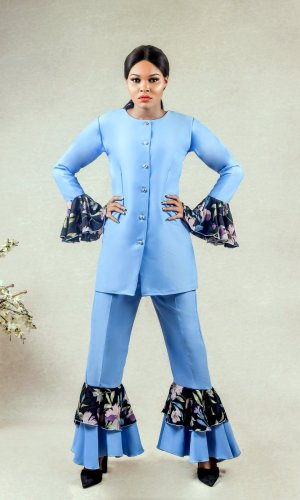 lady wearing the prisci double layered bell bottoms suit by Ria Kosher