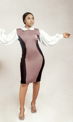 fair model wearing a brown collared illusion sheath dress by Ria Kosher